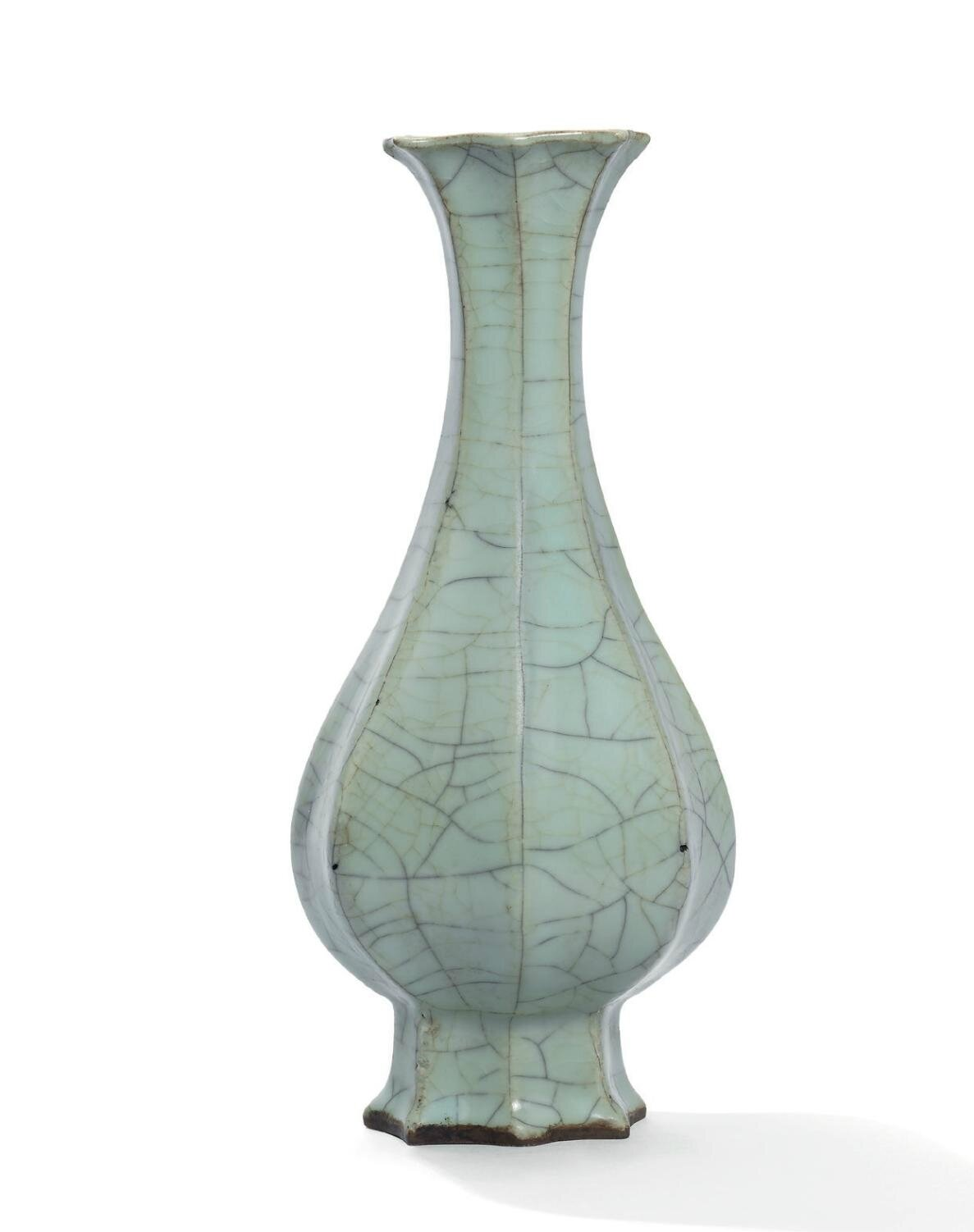 A very rare guan-type Longquan celadon foliate vase, Southern Song dynasty (1127-1279)