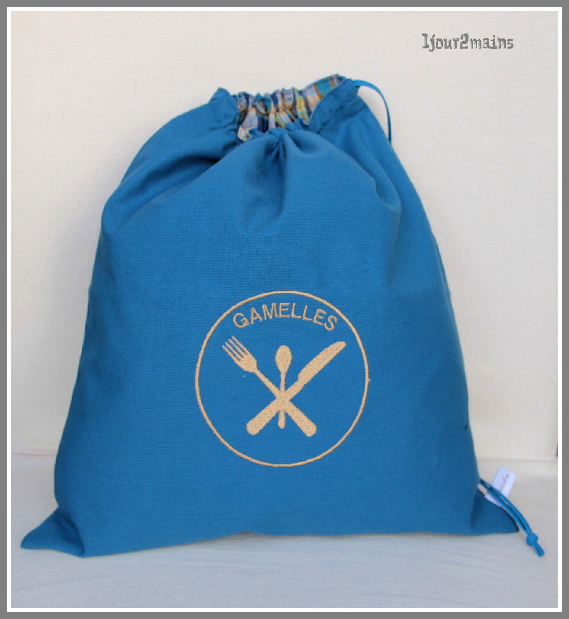sac gamelle bleu écossais jaune