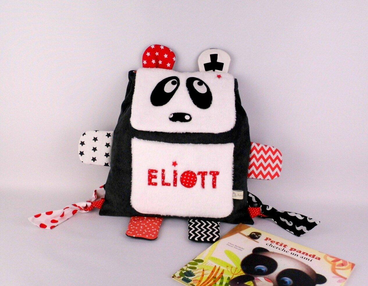 Sac à dos enfant personnalisé prénom panda Eliott gris noir rouge sac bébé crèche école maternelle cadeau baptême personnalisé unique