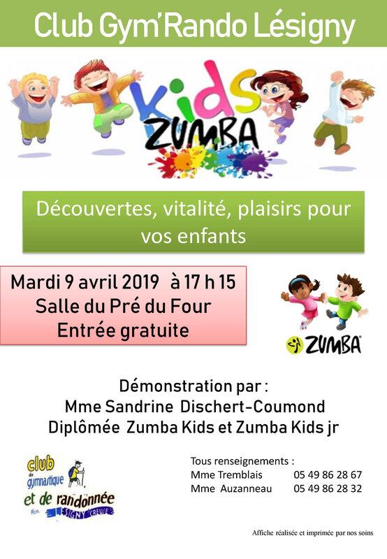 Affiche GYM Zumba enfant
