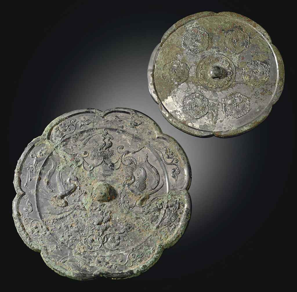 Two large bronze lobed mirrors, Tang dynasty (618-907)