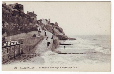 14 - VILLERVILLE - Descente de la plage à marée haute