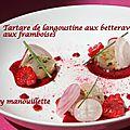 Tartare de langoustine aux betteraves et aux framboises