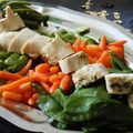 Suprêmes de poulet farcis aux herbes et légumes nouveaux, finesse et légèreté!