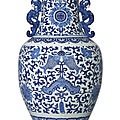 A large blue and white 'double-fish and chime' vase, qing dynasty, 18th century