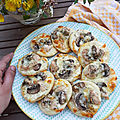 Mini pizza poulet champignons