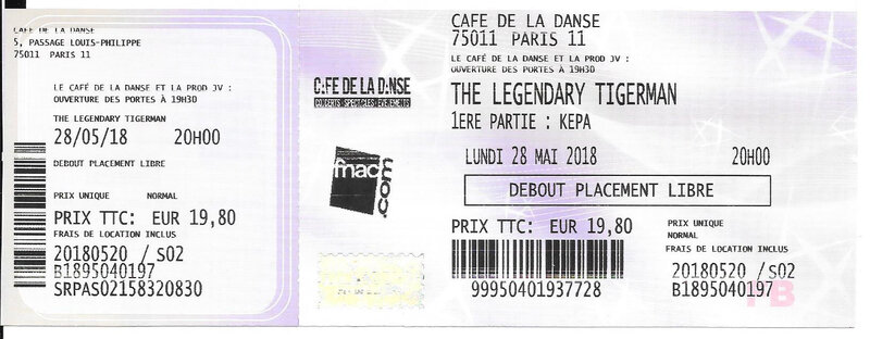 2018 05 28 The Legendary Tigerman Café de la Danse Billet