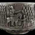 Monumental & extremely rare parsee muktad silver bowl, burma/india, 19th century