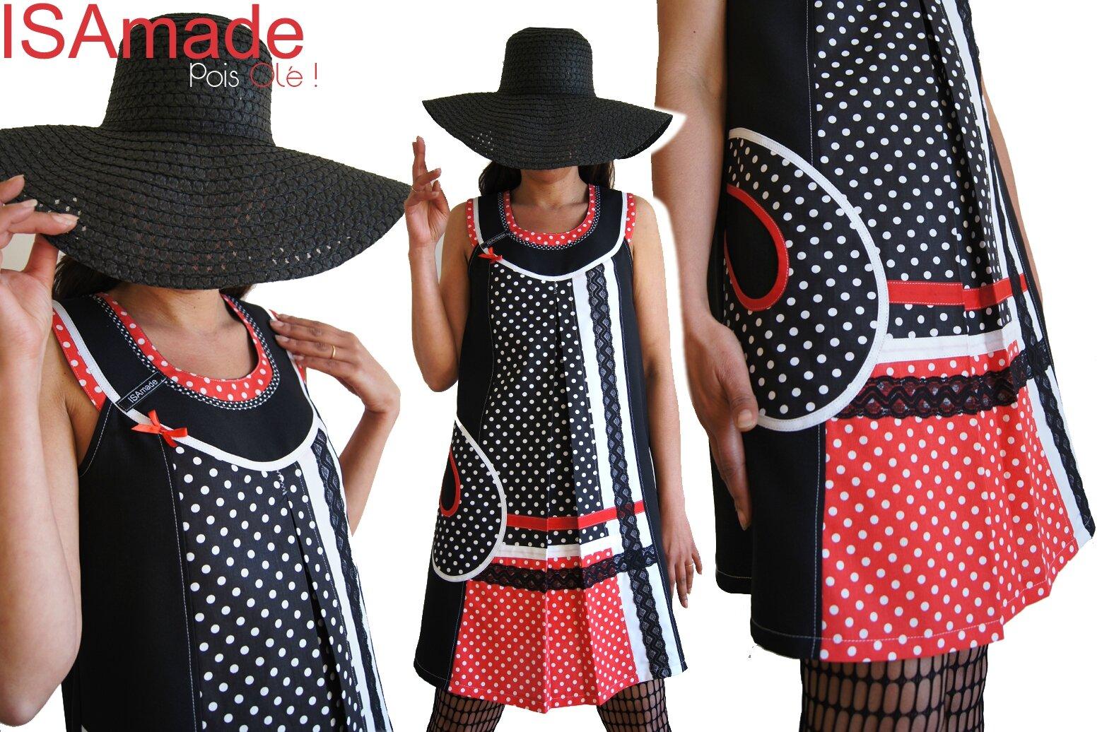 Robe Graphique Trapèze à pois Bicolore Noir/blanc et Rouge à imprimés Pois et dentelle Printemps 2014