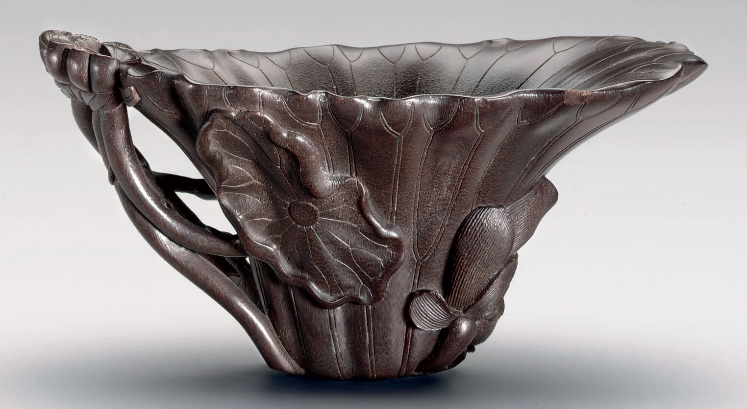 A 'lotus-leaf' rhinoceros horn libation cup, 17th century