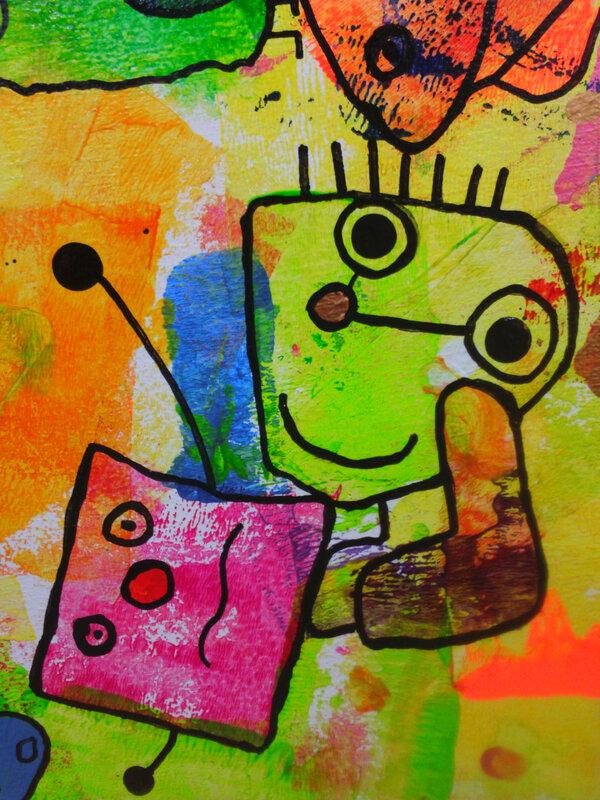 359-Personnages Animaus Monstres-Cache-cache peinture sur bois en élémentaire (120)