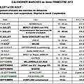 Calendrier du 3e trimestre 2013