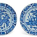 A pair of Chinese blue and white dishes, Kangxi period (1662-1722)