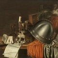 Adriaen verdoel, a plumed helmet, a skull with shells, a candle and an hourglass with other objects on a draped table