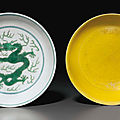 A green-glazed 'dragon' dish and a yellow-glazed incised 'dragon' dish, daoguang marks and period (1821-1850)