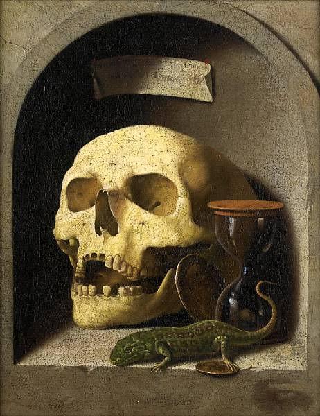 German School, circa 1600, A skull, a lizard, coins and an hourg