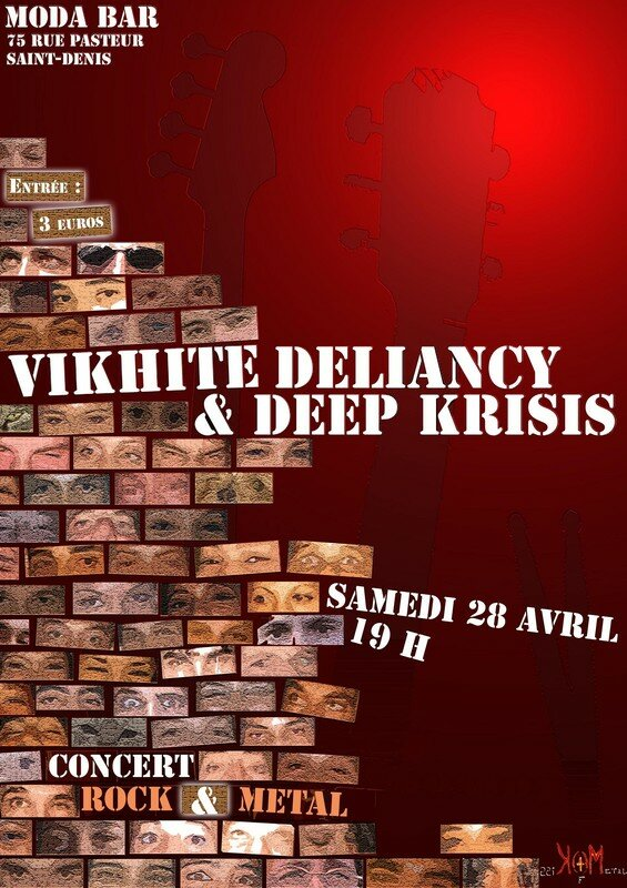 Affiche du concert rock metal Vikhite deliancy - Deep Krisis sam