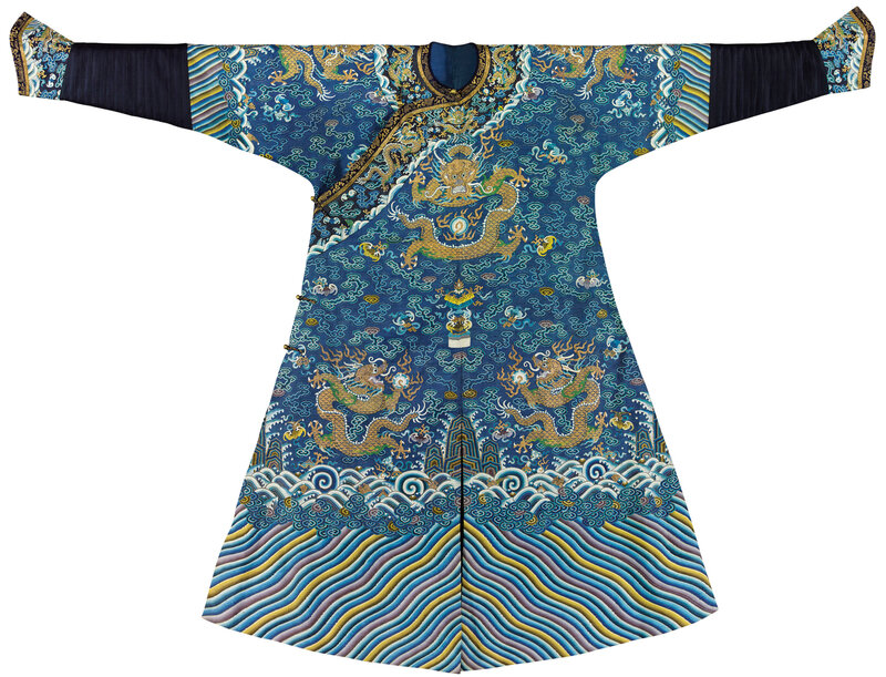 An imperial blue kesi summer dragon robe, jifu, Qing dynasty, 19th century