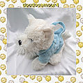 Doudou Peluche My Scotty Bag Blanc Et Bleu Gipsy
