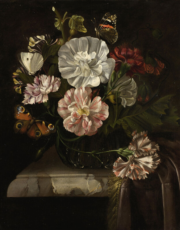 Dutch School, Vase of flowers (oil on canvas)