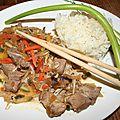 Wok de porc sur poêlée asiatique