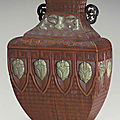 A rare embellished bamboo veneer wall vase, 18th century