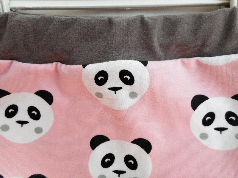 Sarouel 12 mois pandas rose ceinture