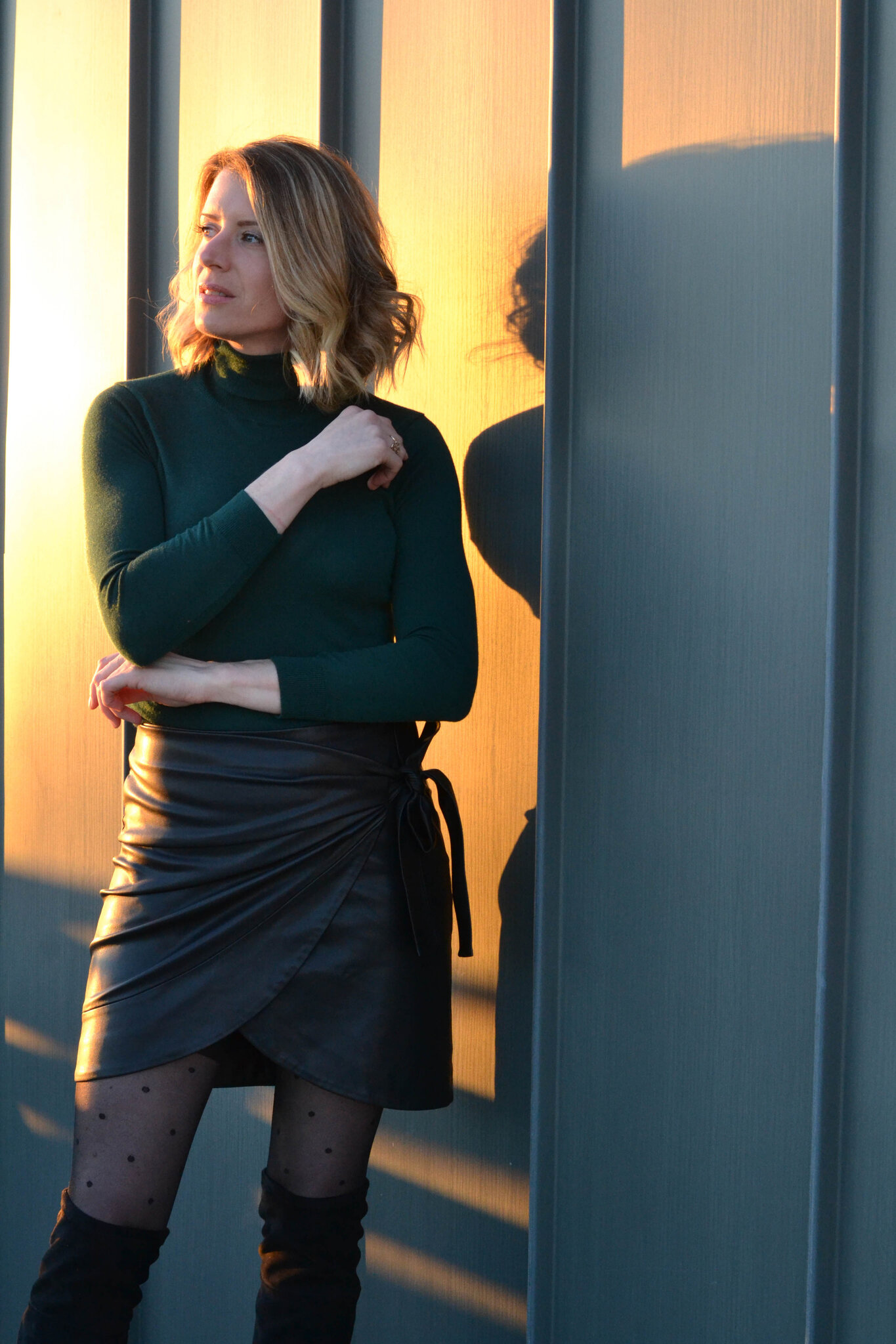 Look look look # Green sock sweater and leather skirt