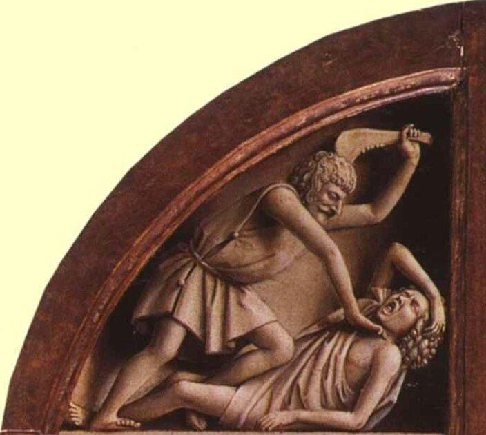 Caïn égorge Abel, Jan van Eyck, 1425, Cathedrale Ghent, Belgique