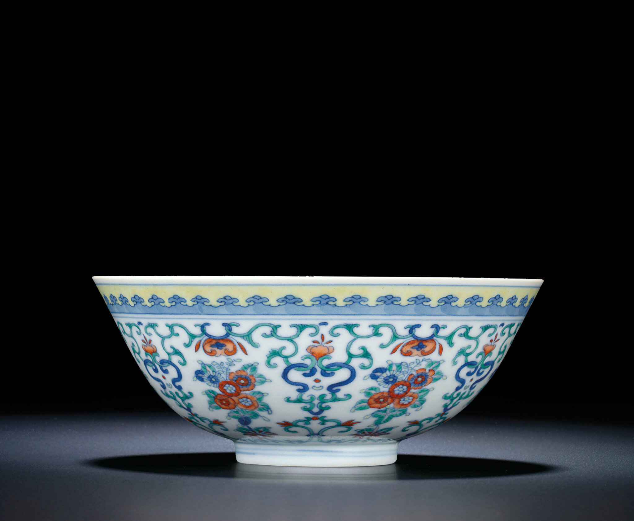 A fine doucai floral bowl, Daoguang six-character seal mark and of the period (1821-1850)