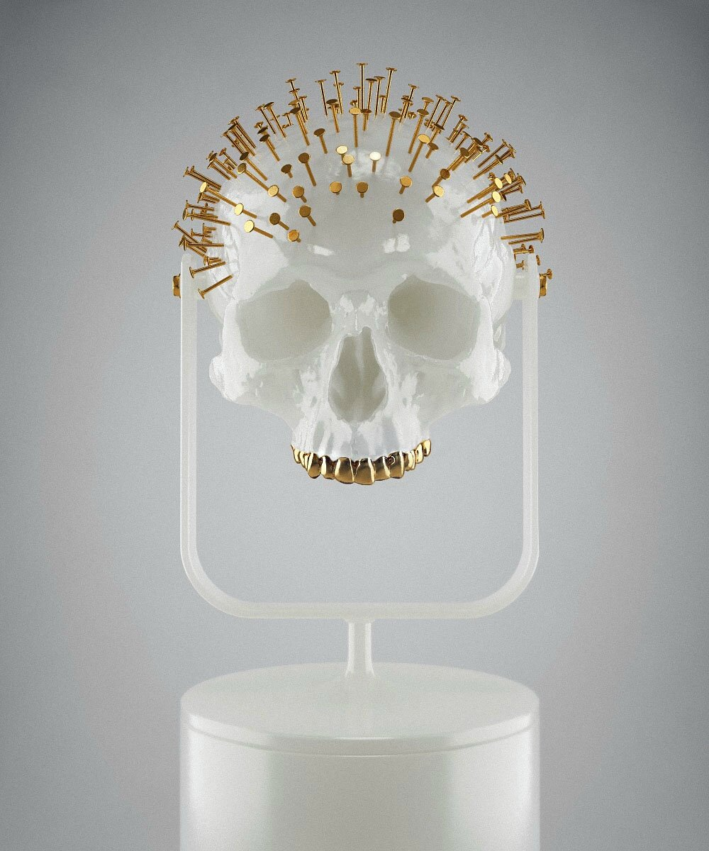 Hedi Xandt, The Longer You Last II, 2013 translucent white plastic cast of an 18th century skull with gold-plated nails, custom-made plastic fixture. © 2014 Hedi Xandt
