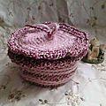 Bonbonnière crochet rose chiné (5)