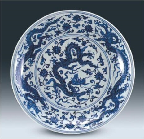 Blue and White 'Dragon' Dish, Early Ming Dynasty, Shanghai Museum