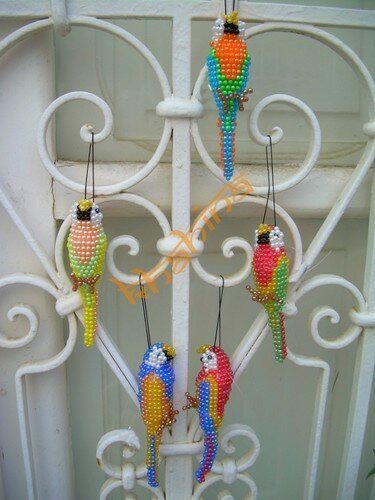 5 perroquets tissés