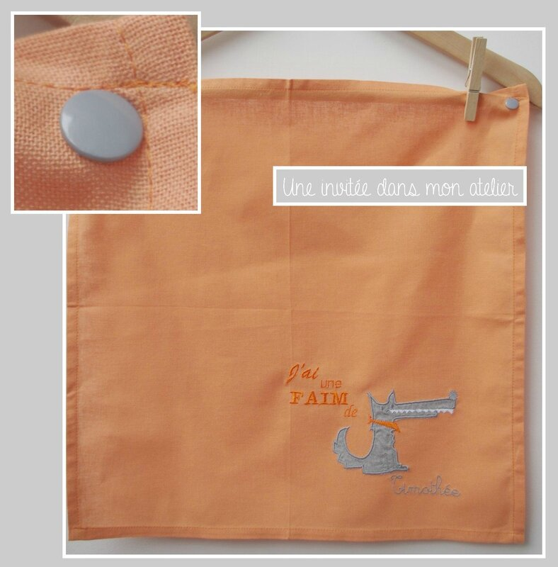 serviette de table-enfant- faim de loup-orange