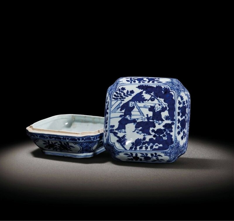 A blue and white 'Boys' square box and cover, Jiajing six-character mark and of the period (1522-1566)