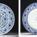 A rare large ming-style blue-and-white dish. yongzheng six character mark within a double circle and of the period (1723-1735)