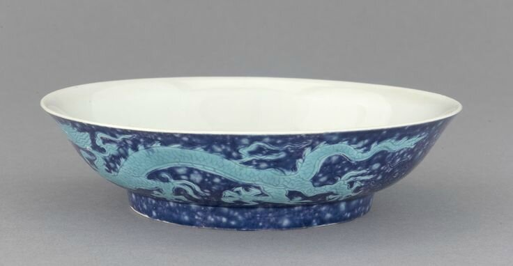 Dish with design of pair of dragons, late 15th century, Ming dynasty. Porcelain with enamel glazes over clear glaze. H: 3.8 W: 14.8 cm. Jingdezhen, China. Purchase F1953.4. Freer/Sackler © 2014 Smithsonian Institution