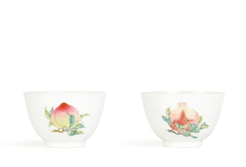 A fine and exquisite pair of 'famille-rose' 'sanduo' cups, Yongzheng marks and period