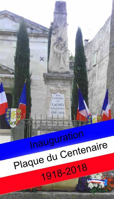 Dimanche 11 novembre 2018 à LAGNES: inauguration de la plaque du Centenaire 1918-2018