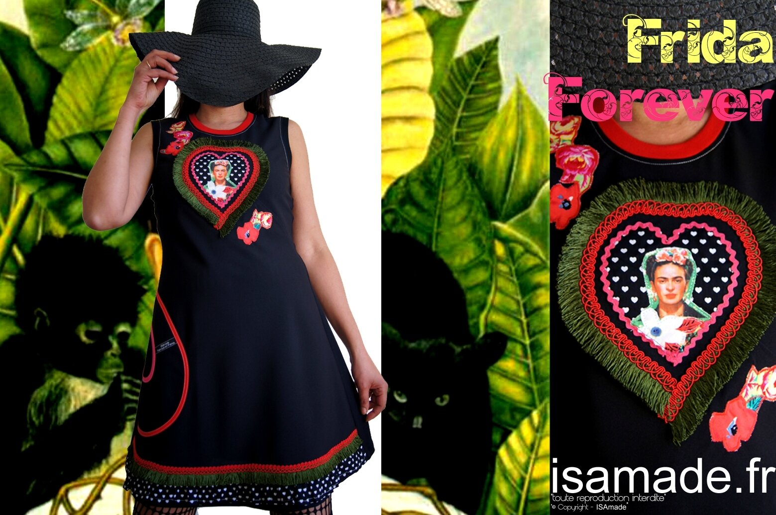 Robe noire Frida Fleurie folklo fantaisie made in France