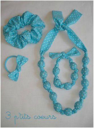 Accessoires turquoise à petits pois blancs