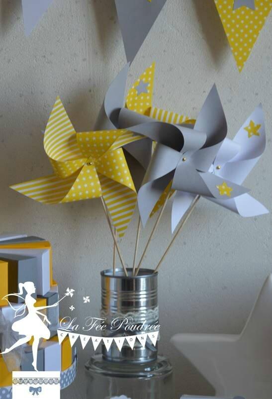 Moulin A Vent Decoration Bapteme Theme Etoile Jaune Gris