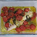 Cabillaud au vin blanc, tomates et basilic