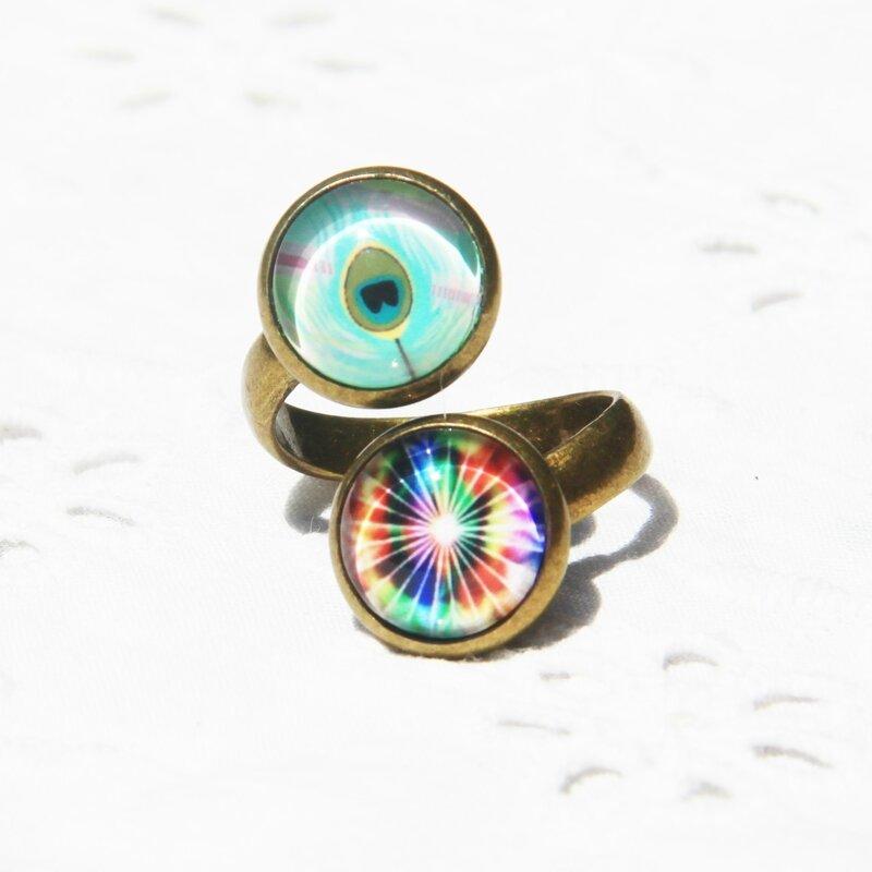 zoe 34 bague doublecabochons arc en ciel multicolore bijoux colorés par louise indigo (3)