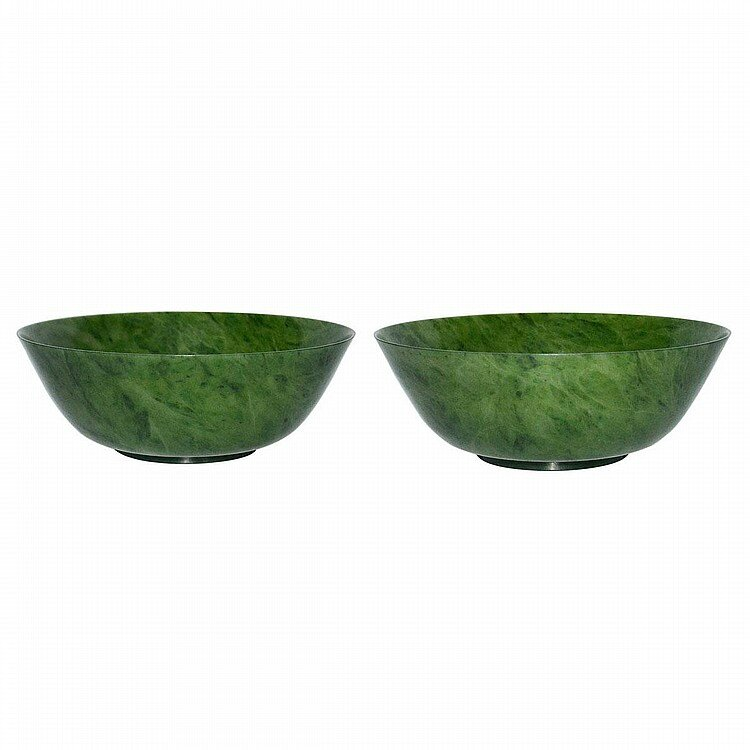 A Pair of Large Spinach Green Jade Bowls, Qing Dynasty, Yongzheng Six Character Mark and of the Period1