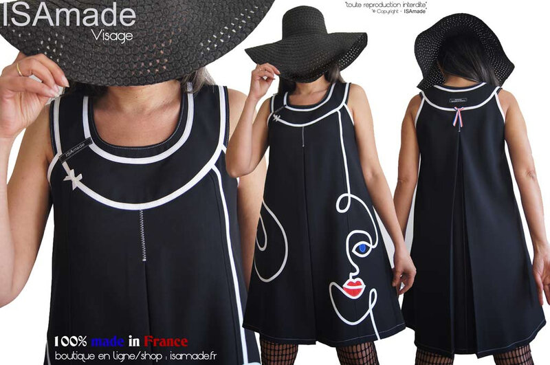 MOD639A-robe-trapeze-noire-blanche-visage-made-in-France-isamade-graphique