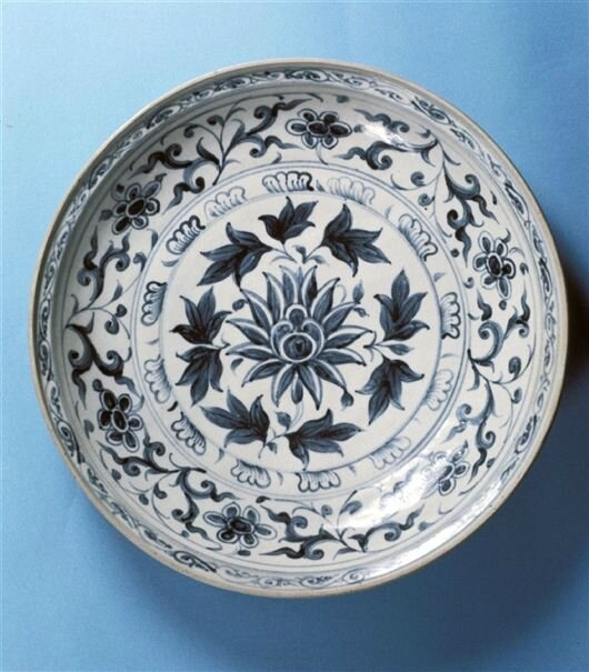 Deep Plate, Annamese, c. 1435-1500. Clay, cobalt, glaze; object (dia. x depth): 15 x 2 7/8 in. (38.1 x 7.3 cm) object with mount: 14 3/4 x 15 x 7 3/4 in. (37.5 x 38.1 x 19.7 cm) 38.1 cm. Gift of the Honorable and Mrs. G. Mennen Williams. 76.143. Detroit In