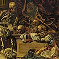 Carstian luyckx, memento mori still life with musical instruments, books, sheet music, skeleton, skull and armour