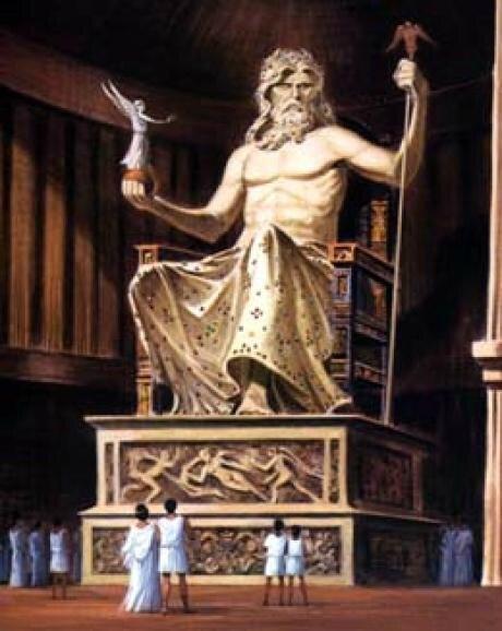 La statue chryséléphantine de Zeus olympien réalisée par Phidias en 450 avant JC